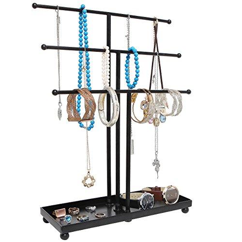 MyGift moderne en métal Noir 3 étages de table Bracelet et collier Bijoux Organiseur Présentoir Arbre de bague W/Plateau