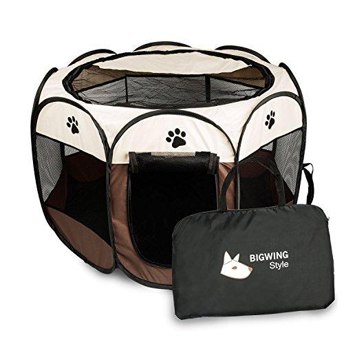 BIGWING STYLE Welpenlaufstall/ Tierlaufstall/ Hundehütte/ Welpenauslauf/ Laufstall für Hunde/ Katzenhaus/ Wasserdichtes Zelt für Kleintiere wie Hunde, Katzen Größe M/L
