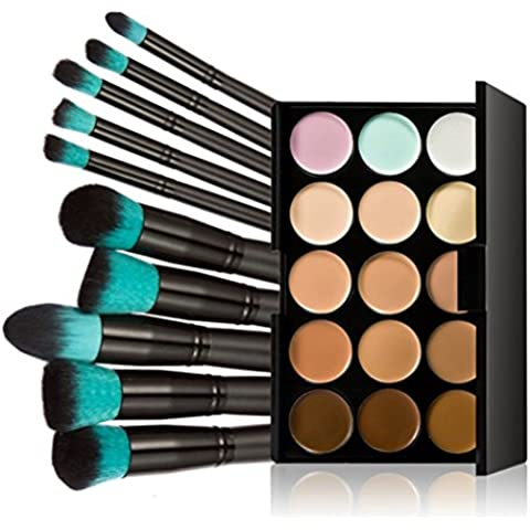 Pixnor Maquillaje paleta 15 colores Premium Calidad Profesional cara contorno crema maquillaje corrector paleta con Maquillaje Crema 10pcs conjunto de pinceles de maquillaje