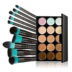 LEORX Gesicht Kontur Kit Highlighter Make-up Kit 15 Creme Concealer Farbpalette mit Pinsel 10ST