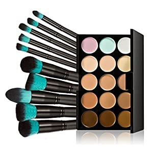 LEORX Face Contour Kit marcador maquillaje Kit 15 paleta crema corrector con pincel 10pcs