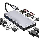 FLYLAND USB C Hub Typ C Hub Adapter mit 4K HDMI, USB 3.0 und 2.0 Anschlüssen, Micro SD/SDXC Kartenleser, Ladeport, 11 in 1 Hub, Aluminium Typ C Hub für MacBookPro / 2017/2018, Dex Station