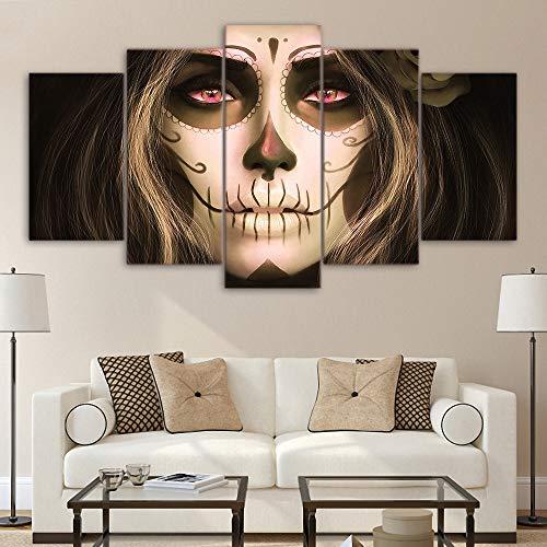 Kunstwerk Leinwand Halloween Schädel Gesicht dekorative Malerei | Inneres Dekorationsbild auf Leinwand für irgendwelche Orte (Rahmenlos),A,20x35x2+20x45x2+20x55x1 ()
