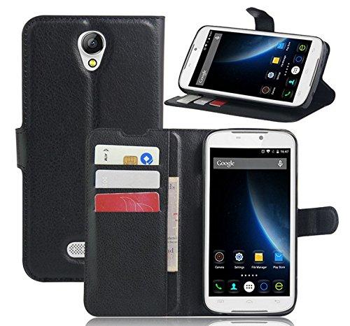 Prevoa ® 丨Flip PU Leather Hülle Cover Case Schutzhülle Tasche für DOOGEE X6 X6S X6 PRO Smartphone - (Schwarz)