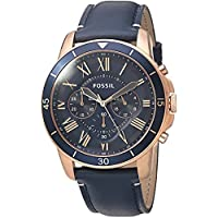 Fossil Grant Men's Blue Dial Blue Leather Band Watch - FS5237