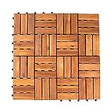 Vanage Piastrelle Giardino in Legno Incastrabili, Set da 27 Mattonelle 30 x 30 cm per Esterno ideale come Pavimentazione Giardino, Stile Edge