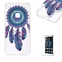 For Huawei P10 Lite Case [with Free Screen Protector],Funyye Fashion lovely Lightweight Ultra Slim Anti Scratch Transparent Soft Gel Silicone TPU Bumper Protective Case Cover Shell for Huawei P10 Lite - Feather
