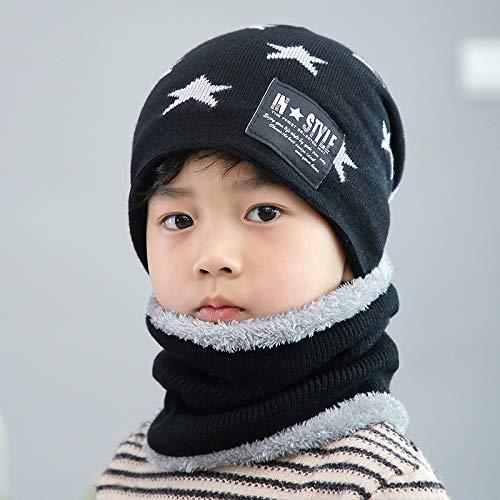 2018 Hut für Kinder,Hut Lätzchen Set Cute Woolen Hat Lätzchen Set Flut verdicken warme Baby Kind Hut, schwarz