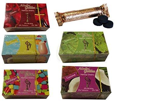 Pack 5 paquetes de Shisha sin nicotina y un paquete de carbones de 10 pastillas