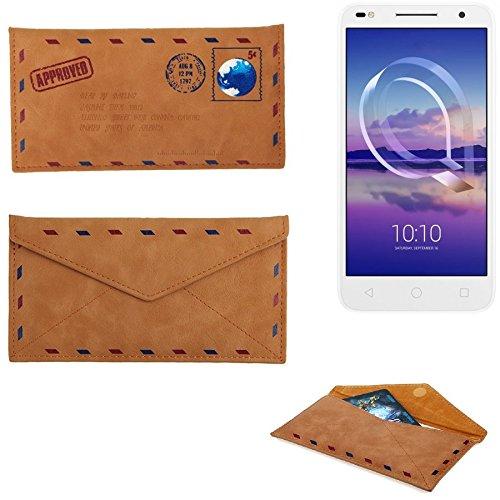 K-S-Trade Für Alcatel U5 HD Dual SIM Kunstleder Handyhülle Schutz Hülle für Alcatel U5 HD Dual SIM in braun. Briefumschlagoptik Slim case Cover Pouch für Handys/Smartphones Bookstyle Wallet Case - K