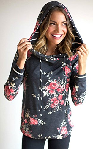 Angashion Damen Hoodies Langarm Kapuzenpullover-Blumenmuster Casual Sweatshirt Pullover Bluse Oberteile Hell Dunkelgrau1 S -