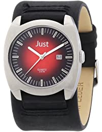 Just Watches Herren-Armbanduhr XL Analog Leder 48-S1992-RD-BK