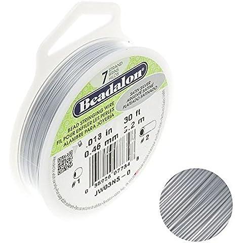 Beadalon-Rocchetto di filo a 7 fili, perline, in argento satinato 0,05 (.018 9,14 Meters cm