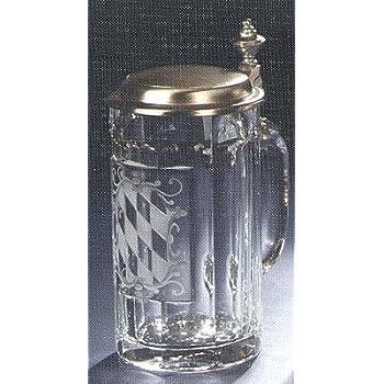 Bierseidel Bier-Krug 0,5 L Glas mit Zinndeckel Bayern