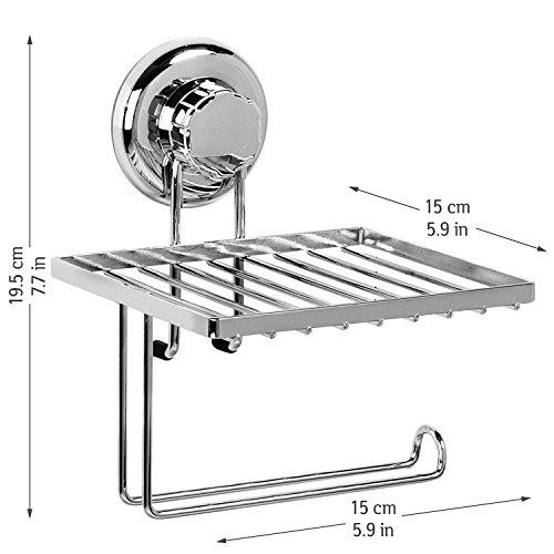 Tatkraft MegaLock Toilettenpapierhalter Mit Ablage Stahl Verchromt  15X15X19.5 Cm Saugschraube