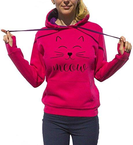 Meow Hoodie Cat Hoodie Cat Lovers Animal Lovers Cat Owner Graphic Tee Cute Hoodie Lovely Clothing Hoodies Lila Small