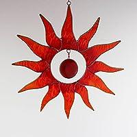 Fenster Deko zum Aufhängen Sonne rot-gelb | Deko Sonne aus Resin | Handgemacht | Sonnenfänger | Fensterdeko