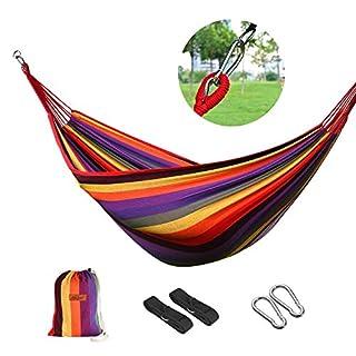 logei® premium outdoors Hängematte Hammock Camping Garten Strand Reise Leinwand Aufhängen (200*150cm, Mehrfarbig)