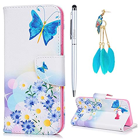 S8 Case Flip MAXFE.CO for Samsung S8 Case Wallet Rugged Shockproof PU Leather Case Cover Stand Case for Samsung Galaxy S8 [Deep Sky Blue Butterfly Fairy and Flower Painted] with Card Slots & One Touch Pen & One Dust