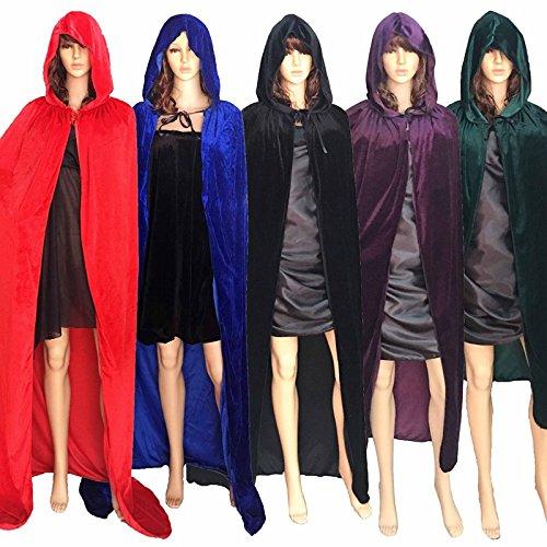 AAAHOMEEU Weihnachten Deluxe Hooded Cloak Adult Halloween Kostüme Capes (S-XL) (Sonderbar Halloween Kostüme)
