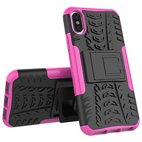 Hülle Für iPhone X,Sunrive® Tasche Schutzhülle Etui Case Cover Hybride Silikon Stoßfest Handyhülle Hüllen Zwei-Schichte Armor Design Tasche mit schlagfesten mit Ständer Slim Fall(lila)+Gratis Universa rosa