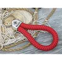 MOIN - Schlüsselanhänger Schlaufe - rot - handgetüdelt in Hamburg - maritimes Geschenk, für einen Umzug nach Norddeutschland oder an die Küste