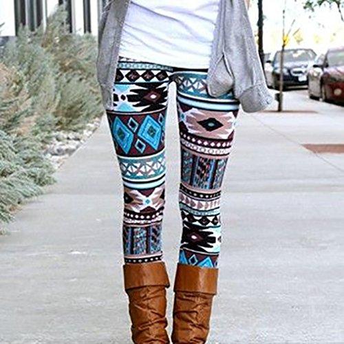 Ouneed® Femme Noel Motif Legging Rouge en Polyester A