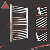 600mm(w) x 800mm(h) Curved Chrome Electric Heated Towel Rail, Radiator, Warmer. Supplied with 250 Watt Electric Heating Element