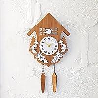 TOYM- Campagna rurale foresta di bambù di legno Capanne Cuckoo Orologio da parete decorazione della parete dell'orologio degli animali