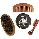 GBS Combo Set (3 Pc Kit) Premium Oval Wood Beard Brush With Boar Bristles, Bamboo All Fine Beard Comb & Tortoise...