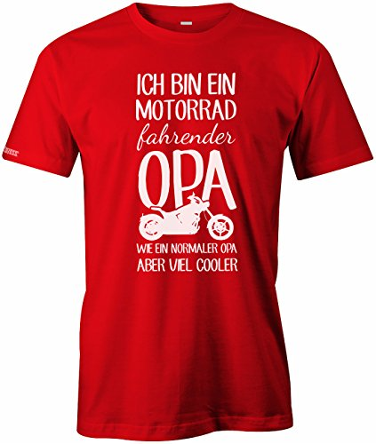 Ich bin ein Motorrad fahrender Opa - Herren T-Shirt Rot