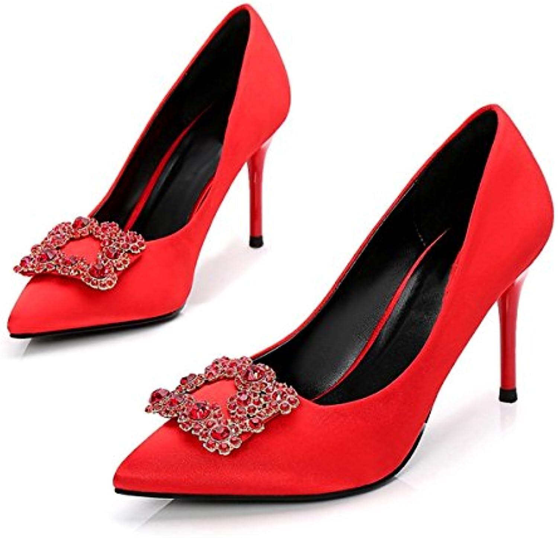 DIMAOL Damen Schuhe Seide Frühling Herbst Basic Pumpe Heels Stiletto Heel Schuhe Strass für Hochzeit Party & Abendö