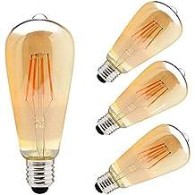 ZHMA LED 3X4W E27 Bombillas Filamento, Paquete de 3 Unidades Iluminación Vintage, 3 Bombillas LED 4W con S Vendimia Edison regulable Iluminación de Bulbo Blanco Caliente 3000K
