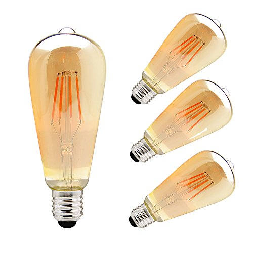 ZHMA Edison Lampe E27 ST64 Vintage Stil 3er pack 4W filament lamp Edison Glühbirne Retro Licht Vintage Bulb Antik Beleuchtung LED Kerzenform Filament pear 3000K 320LM (Lichter 1900 Klare)