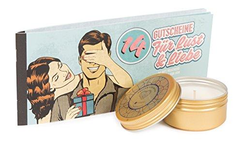 Deluxe Verwöhnset 14 Gutscheine für Lust & Liebe (für Ihn) & Deluxe Massagekerze herzerwärmend mit pflegenden Soja & Kokosölen, Nikolaus-Geschenkset für Ihn