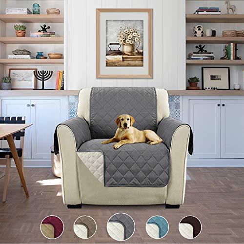 H.Versailtex Luxus Gesteppter Sofa Schutz Abdeckung Wasserresistenter Möbelschutz Überwurf, Strapazierfähig & Schmutzresistent – 190cm x 53cm Grau