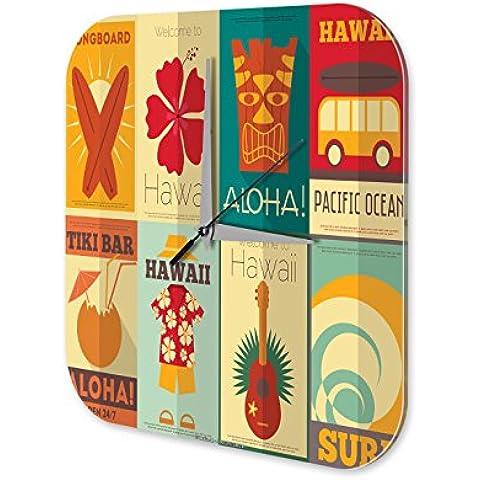 Orologio da parete Giramondo Hawaii Tiki Bar Plexiglas Acrillico - Tiki Bar Della Decorazione Della Parete