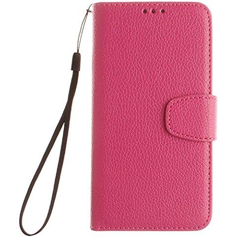 Cozy Hut ® Huawei Y6/Honor 4A Custodia in finta pelle,[Classic Series] Custodia Cover Case Ultra Sottile Flip Foglio Premium imitare Cassa del Cuoio Genuino Custodia flip cover per Huawei Y6/Honor 4A - Red Rose