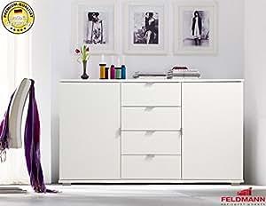 572162 Commode-buffet - 2 portes-avec tiroirs blanc 123 cm