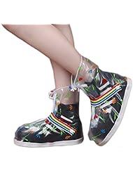 BAINASIQI Regenüberschuhe Regenfüßlinge wasserdicht Regen Schuhe Flache Regen Überschuhe Schuhüberzieher Outdoor Rutschfester Überziehschuhe Cover für Mädchen Damen