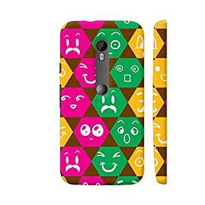 Colorpur Moto G Turbo Cover - Different Emoticons In Multicolored Hexagons Case