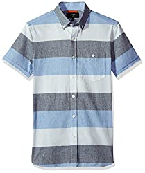 Jack Spade Mens Wide Stripe Oxford Short Sleeve Shirt, Blue, X-Small