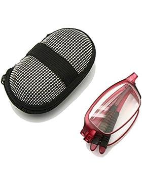 EnzoDate Gafas de lectura plegables flexibles con estuche, 1 a +3.5 Gafas plegables de presbicia y mujer Hipermetropía...