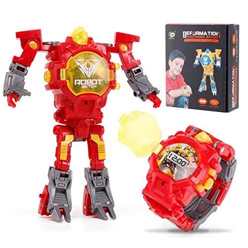 AOLVO 2-in-1-Roboter-Armbanduhr, verwandelt Spielzeug, Digitale elektrische Armbanduhr, kreatives pädagogisches Spielzeug, manuelle Verformung, Roboter, Geschenk für Kinder rot