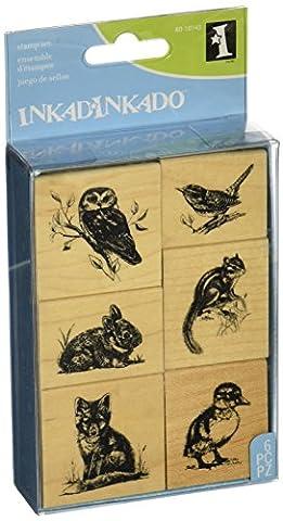 Inkadinkado Rubber Mounted Stamp Set 3.25-inch x 4.75-inch, Wildlife Friends