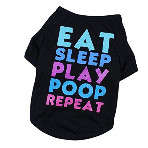 (erthome Hundemantel, Sommer Hundebekleidung Kleine Hunde Haustier Katze T-Shirt Kostüme (XL, Schwarz))