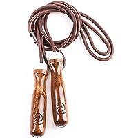 Corda per saltare in pelle Golden Stallion per veri esercizi del salto della corda – Migliora il livello di energia e la forma con la corda per saltare con pesi integrati - Manici in legno regolabili - Lunghezza della corda regolabile -Cuscinetti a sfera della massima qualità - Ideale per il salto della corda crossfit – Sfrutta al massimo l'esercizio del salto della corda subito!