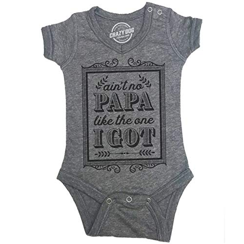 Crazy Dog Tshirts - Creeper Ain't No Papa Like The One I Got Baby Bodysuit Funny Fathers Day Tee for Baby (Dark Heather Grey) - 0-3 Months - Baby-Jungen - 0-3 Months -