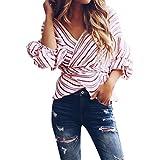 Luckycat Best Deals Amazon Prime Day 2018 Damen Frauen Aufflackernhülse Asymmetrische Bluse Lose Shirt Casual Streifen Bluse T-Shirts Tops