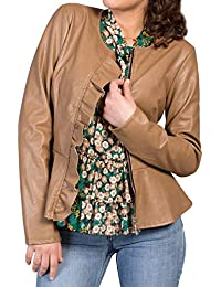 MForshop Giacca Donna Eco Pelle Giacchino Jacket Balza Volant Aderente New  Slim Fit 80312 040a2642667